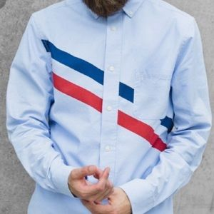 Five Four x Mark McNairy Cabrini Long Sleeve Button Front Shirt Blue Size M
